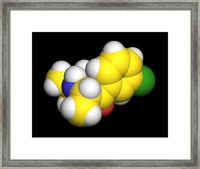 Bupropion Drug Molecule Framed Print by Dr Tim Evans