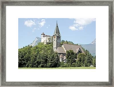 Burg Gutenberg And Church Balzers Liechtenstein  Framed Print by Joseph Hendrix