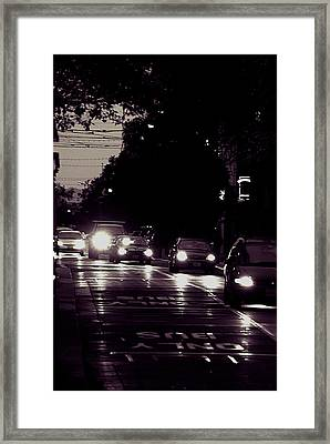 Framed Print featuring the photograph Bus Only Lane by Bob Wall