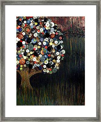 Framed Print featuring the painting Button Tree 0002 by Monica Furlow