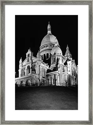 Bw France Paris The Sacre Coeur Basilica 1970s Framed Print by Issame Saidi