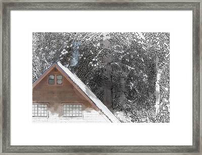 Cabin In The Winter Framed Print by Brandon Bourdages
