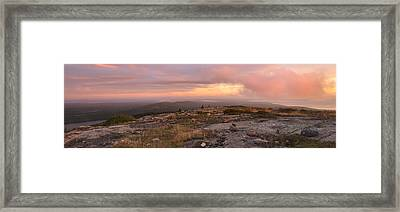 Cadillac Mountain Sunrise Panorama Framed Print by Stephen  Vecchiotti