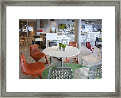 Cafe Seating In A Science Center Framed Print by Jaak Nilson
