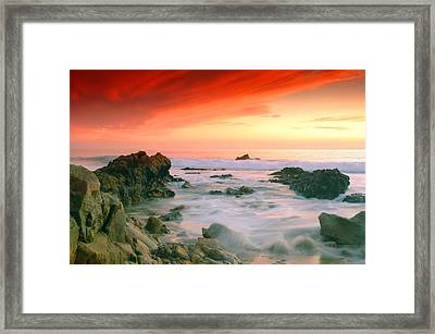 California Beach Sunset Framed Print by Dung Ma