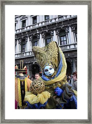Carnival-goer In Blue And Gold Framed Print by Pam Blackstone