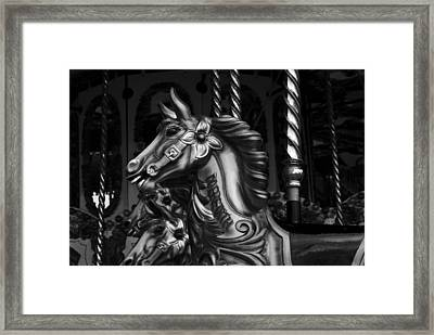 Framed Print featuring the photograph Carousel Horses Mono by Steve Purnell