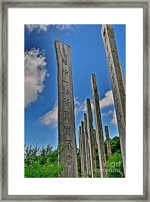 Carvings Of Buddhist Teachings Framed Print by Joe  Ng