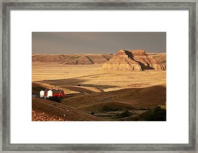 Castle Butte In Big Muddy Valley Of Saskatchewan Framed Print