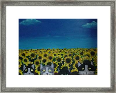 Cats And Sunflowers Framed Print