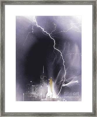 Challenger Struck By Lightning Framed Print