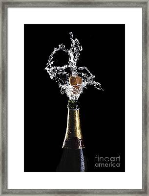 Champagne Cork Explosion Framed Print by Gualtiero Boffi