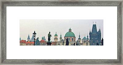 Charles Bridge And Old Town Prague Framed Print by Paul Pobiak