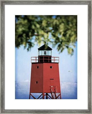 Charlevoix South Pier Lighthouse Framed Print by Christy Woods