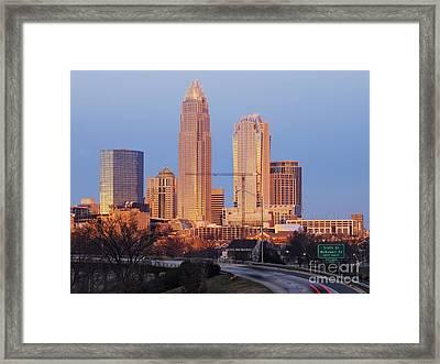 Charlotte Skyline At Sunrise Framed Print by Jeremy Woodhouse