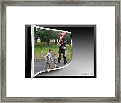 Framed Print featuring the photograph Chasing Bubbles by Brian Wallace