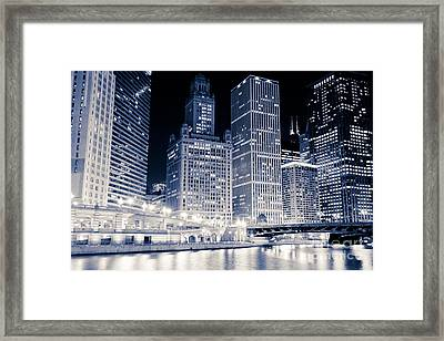 Chicago Downtown At Night Framed Print by Paul Velgos