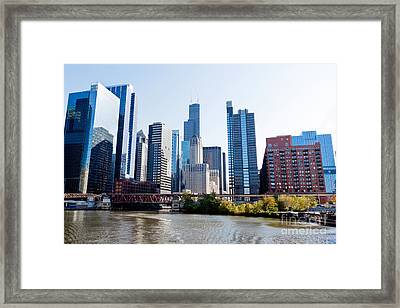 Chicago River Skyline With Sears-willis Tower Framed Print by Paul Velgos