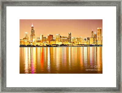 Chicago Skyline At Night Photo Framed Print by Paul Velgos