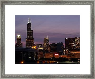 Chicago With A Purple Sky Framed Print by Dan Susek
