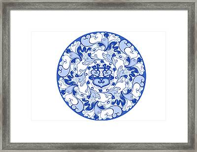 Chinese Traditional Blue And White Porcelain Style Pattern Framed Print