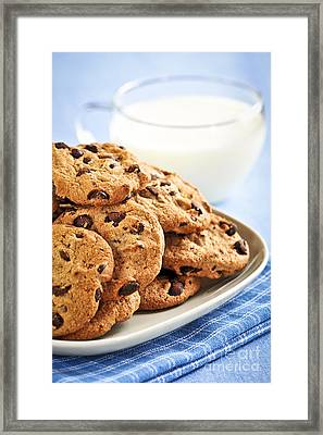 Chocolate Chip Cookies And Milk Framed Print by Elena Elisseeva