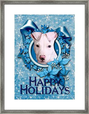 Christmas - Blue Snowflakes Pitbull Framed Print by Renae Laughner