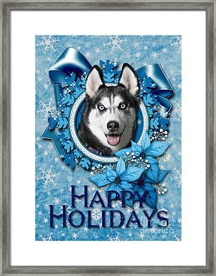 Christmas - Blue Snowflakes Siberian Husky Framed Print by Renae Laughner