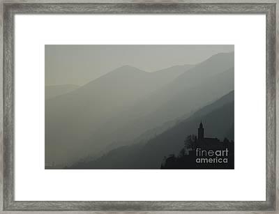 Church On A Foggy Mountain Framed Print