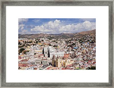 City Of Guanajuato From The Pipila Overlook At Dusk Framed Print by Jeremy Woodhouse