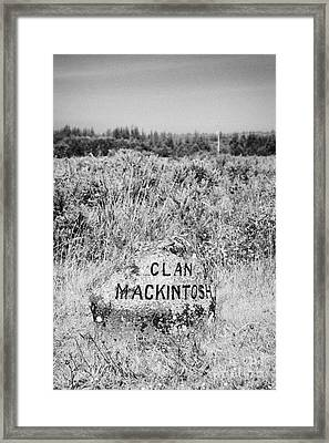 clan mackintosh memorial stone on Culloden moor battlefield site highlands scotland Framed Print by Joe Fox