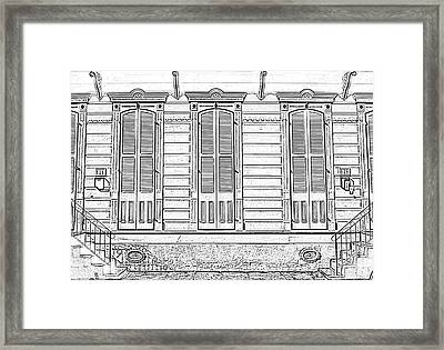 Classic French Quarter Residence New Orleans Black And White Photocopy Digital Art Framed Print