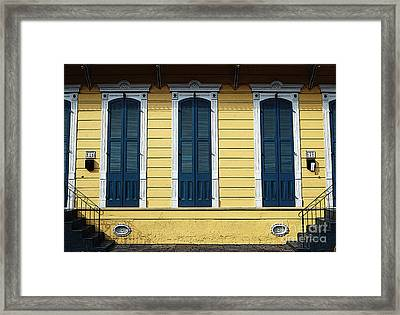 Classic French Quarter Residence New Orleans Poster Edges Digital Art Framed Print