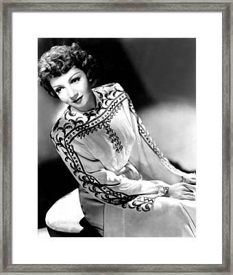 Claudette Colbert, Portrait, 1940s Framed Print
