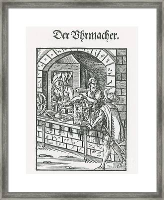 Clockmaker, Medieval Tradesman Framed Print by Science Source