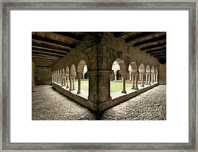 Cloister Of Lavaudieu. Haute Loire. Auvergne Framed Print by Bernard Jaubert