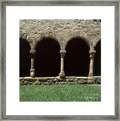 Cloister Of Lavaudieu. Haute Loire. Auvergne. France. Framed Print