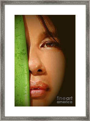 Close-up Of A Beautiful Asian Woman Framed Print by Sandra Cunningham