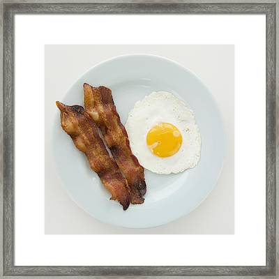 Close Up Of Fried Egg With Bacon, Studio Shot Framed Print