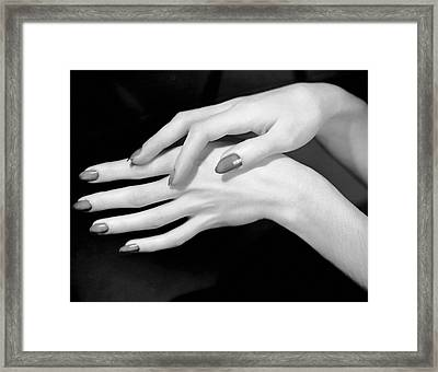 Close-up Of Woman's Hands Framed Print by George Marks