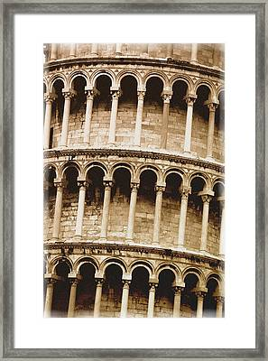 Closeup Of The Leaning Tower Of Pisa Framed Print by Carson Ganci