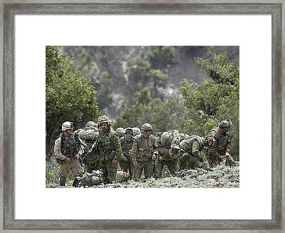 Coalition Soldiers From Us Canada Framed Print by Everett