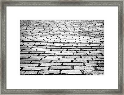 Cobblestoned Street In Central Glasgow Scotland Uk Framed Print by Joe Fox