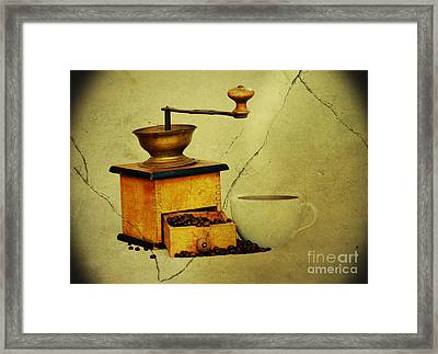 Coffee Mill And Beans In Grunge Style Framed Print by Michal Boubin