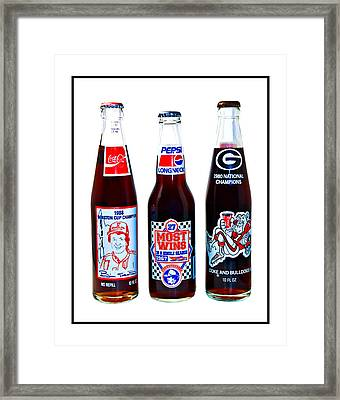 Collectable Cola Bottles Framed Print by Susan Leggett