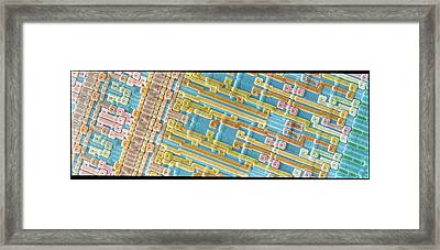 Coloured Sem Of Surface Of An Eprom Silicon Chip Framed Print by Power And Syred