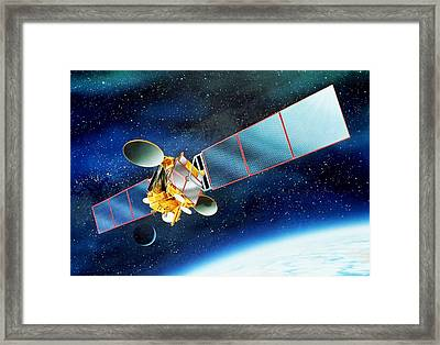 Communications Satellite Framed Print by David Ducros