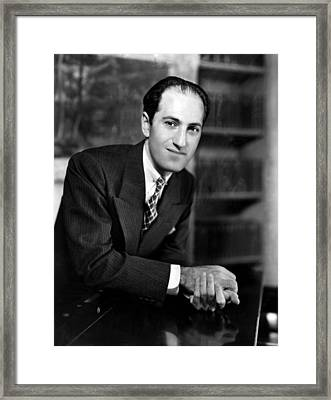 Composer George Gershwin At The Piano Framed Print by Everett