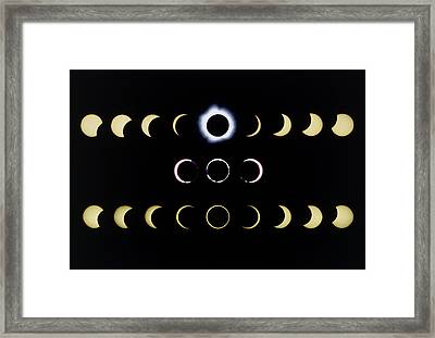 Composite Time-lapse Images Of Solar Eclipses Framed Print