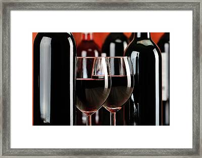 Composition With Glasses And Bottles Of Wine Framed Print by T Monticello